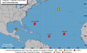 BOLETÍN de aviso del huracán Florence 50 Centro Nacional de Huracanes NWS Miami FL ( 5 PM ) Martes 11 de septiembre de 2018