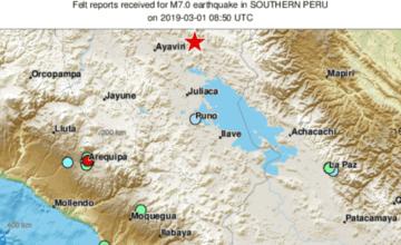 Profundo sismo magnitud 7,1 sacude el sur de Perú