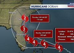 Nuevo pronóstico salva a Florida de un impacto directo, pero Dorian sigue siendo extremadamente peligroso para su costa