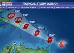 Se intensifica la tormenta tropical Dorian y podría convertirse en huracán el jueves