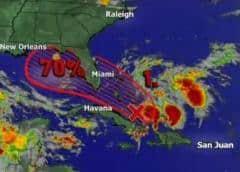 Sistema tropical tiene 70% de probabilidades de desarrollarse cerca de las costas de la Florida