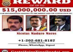 EEUU inculpa de narcoterrorismo a Nicolás Maduro