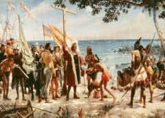 Colón, el arco, la flecha y el hacha de piedra