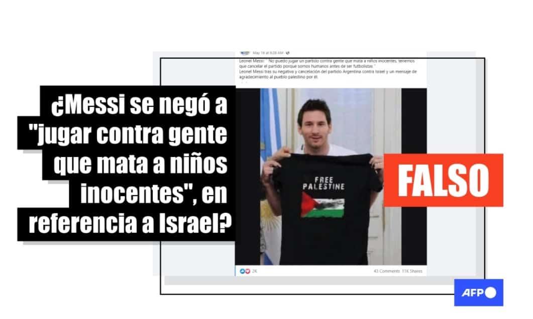 """Fake: Messi no dijo que Israel """"mata a niños inocentes"""" y su foto propalestina es un montaje"""