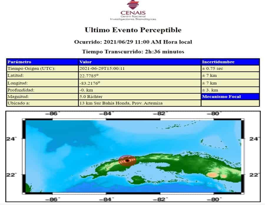 Temblor de tierra de 5.0 grados sacude el occidente de Cuba