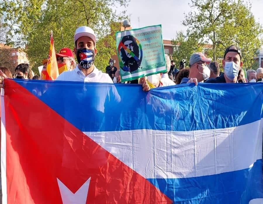 Manifestaciones en Madrid en apoyo a las protestas en Cuba