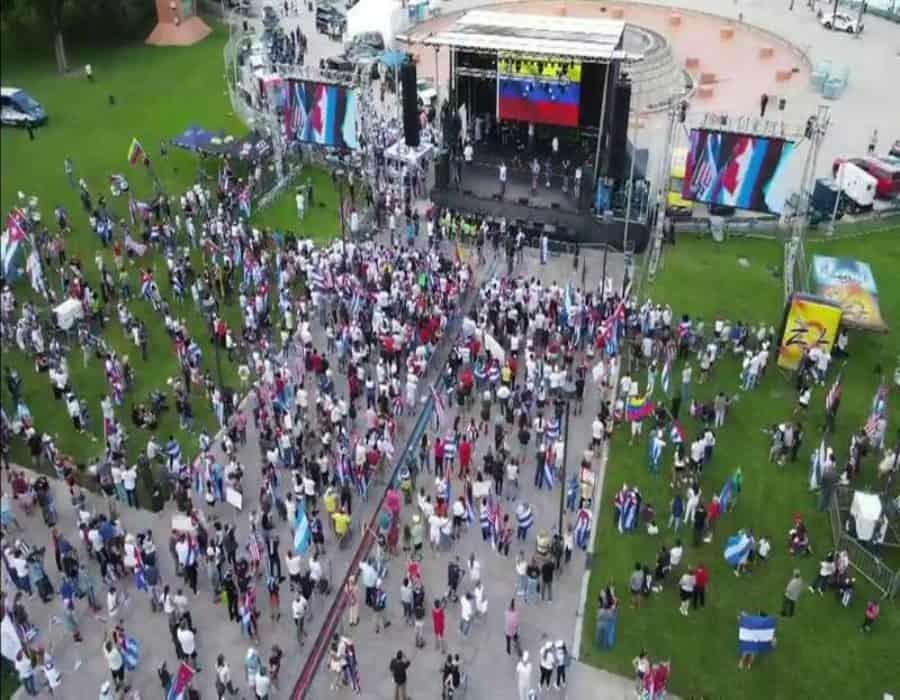 Miami clama libertad para Cuba, Venezuela y Nicaragua en multitudinaria concentración
