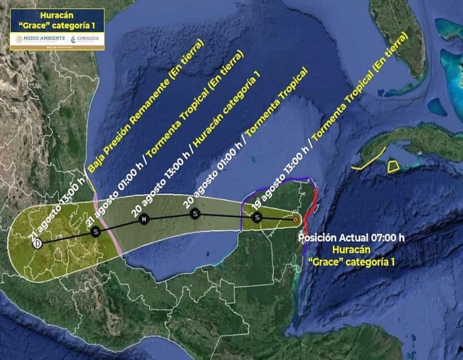 Grace toca tierra al sur de Tulum, en el Caribe mexicano
