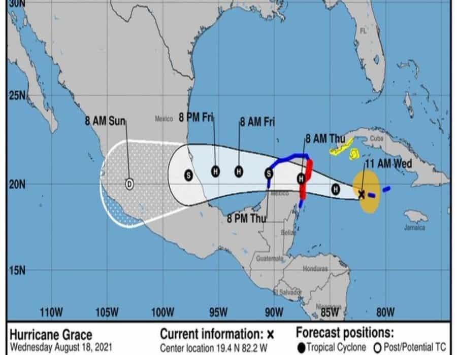 La tormenta Grace se convirtió en huracán y enfila hacia la península de Yucatán, México